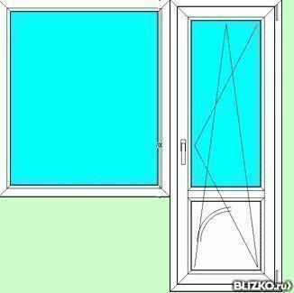 Балконный блок пвх 2100х1800 3 кам., goodwin, 58 мм/32 без м.