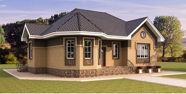 желтый кирпич в сочетании с коричневым дома фото